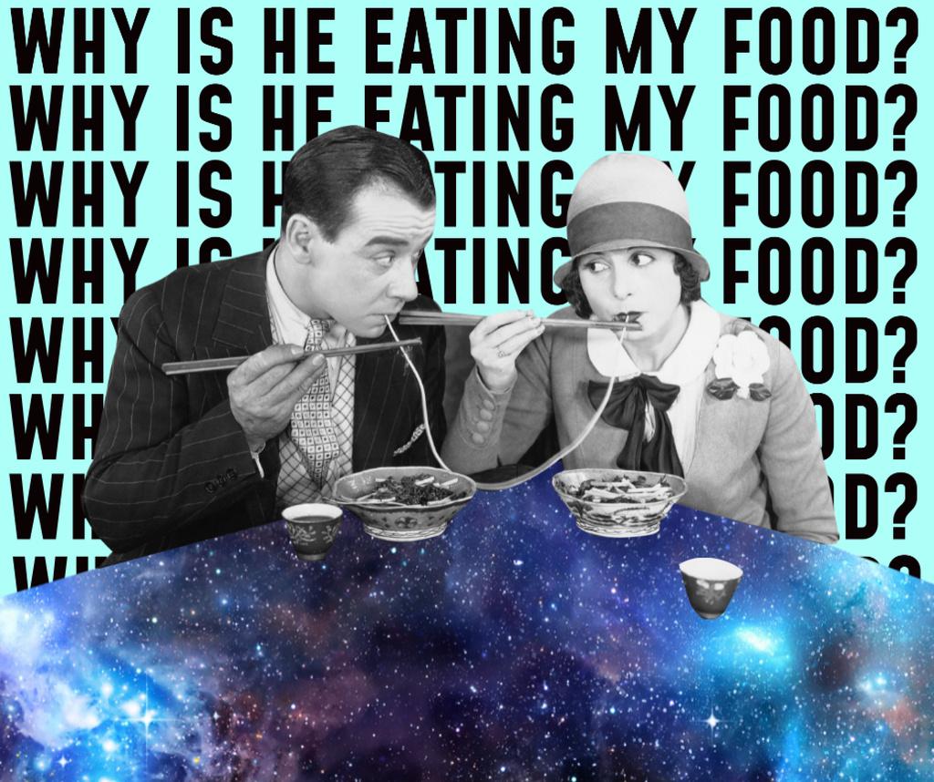 Funny Couple eating Spaghetti on Cosmic Table Facebook – шаблон для дизайна