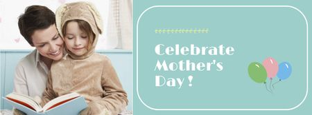 Ontwerpsjabloon van Facebook cover van Mother's Day with Mom reading with Child
