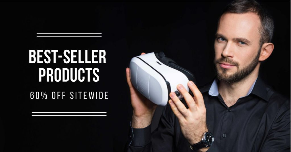 Gadgets Offer with Man holding VR Glasses — Crear un diseño