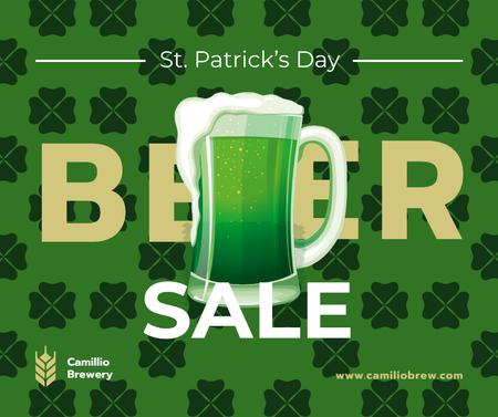 Plantilla de diseño de Saint Patrick's Day mug with beer Facebook