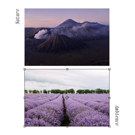 Beautiful Landscape of Mountains and Lavender Field Album Coverデザインテンプレート