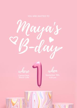 Template di design One year old Baby Birthday Celebration Announcement Invitation