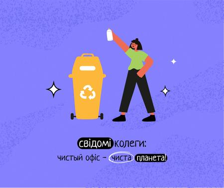Eco Lifestyle Concept with woman recycle garbage Facebook – шаблон для дизайна