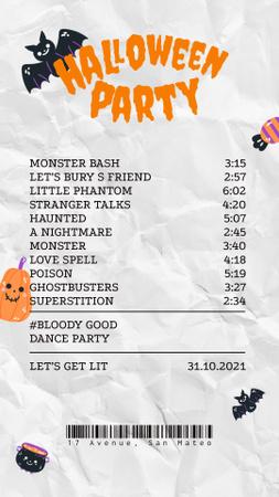 Szablon projektu Halloween Party Announcement with Bats and Treats Instagram Video Story