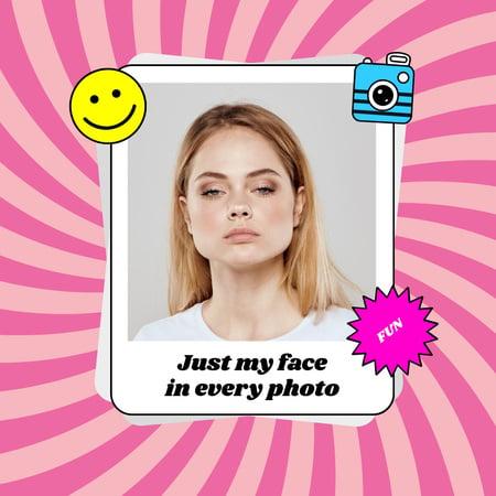 Plantilla de diseño de Funny Woman posing with Serious Face Instagram