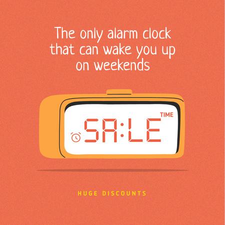 Ontwerpsjabloon van Instagram van Sale Announcement on Alarm Clock