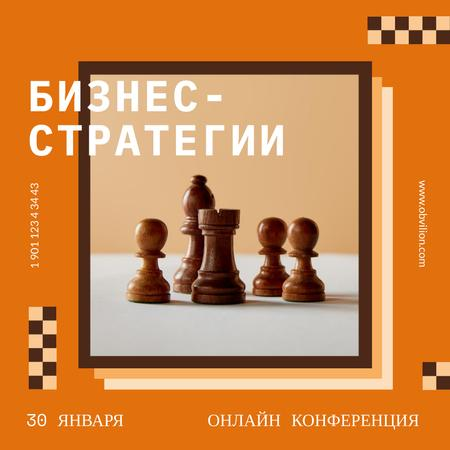 Business Strategy Conference Chess Figures Instagram AD – шаблон для дизайна