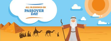 Passover Day Greeting with Moses in Egypt Facebook cover Modelo de Design