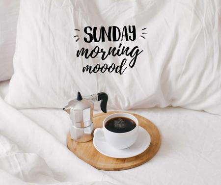 Ontwerpsjabloon van Facebook van Weekend Morning Coffee in bed