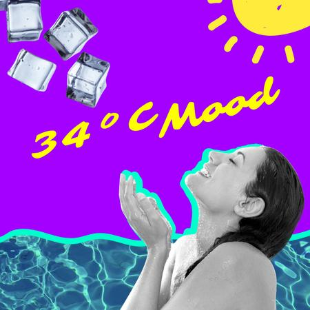 Woman catching Ice on Summer Heat Instagram – шаблон для дизайну
