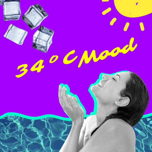 Woman catching Ice on Summer Heat Instagram Modelo de Design