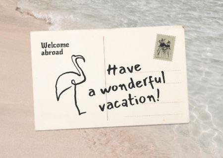Vacation Greeting Envelope with Flamingo Card Modelo de Design