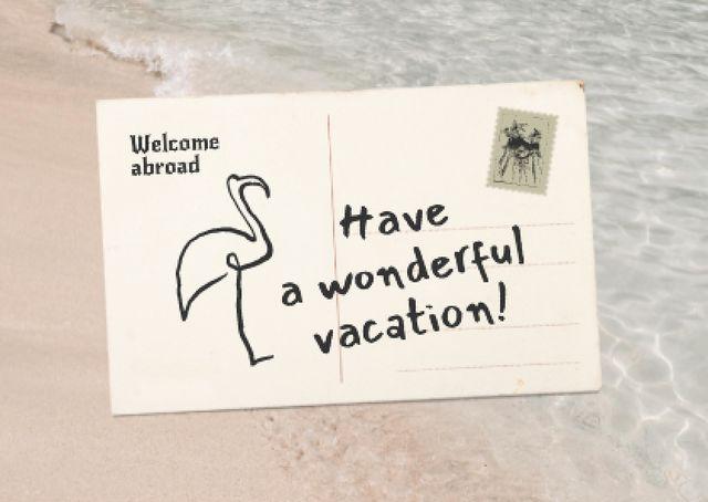 Platilla de diseño Vacation Greeting Envelope with Flamingo Card