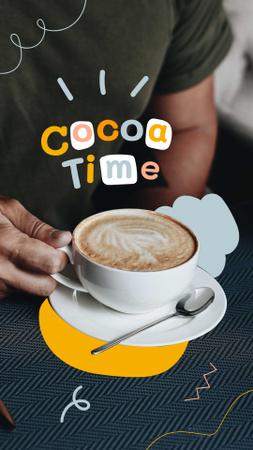 Platilla de diseño Man holding Cup of Cocoa Instagram Story