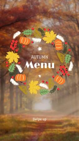 Plantilla de diseño de Thanksgiving Menu Offer with Autumn Forest Instagram Story