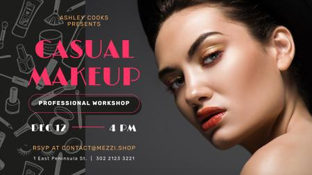 Makeup Courses Ad Woman with glowing skin FB event cover Modelo de Design
