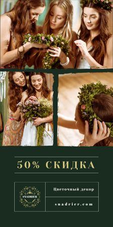 Florist Services Offer Women with Floral Wreath Graphic – шаблон для дизайна