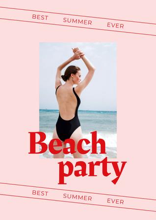 Modèle de visuel Summer Beach Party Announcement with Woman in Swimsuit - Poster