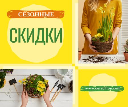 Woman planting Spring flowers Facebook – шаблон для дизайна