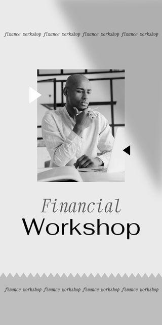 Plantilla de diseño de Financial Workshop promotion with Confident Man Graphic