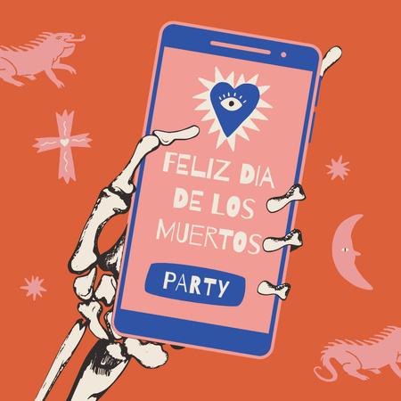 Dia de los Muertos Announcement on Phone in Skeleton's Hand Animated Post – шаблон для дизайна