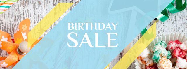 Ontwerpsjabloon van Facebook cover van Birthday Sale with Festive Candies