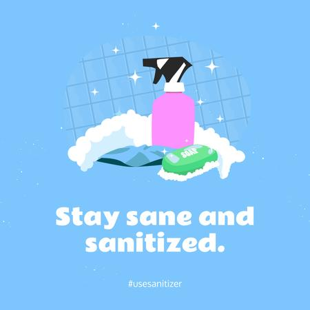 Designvorlage Coronavirus awareness with Sanitizer and Soap für Instagram