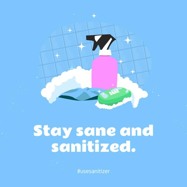 Ontwerpsjabloon van Instagram van Coronavirus awareness with Sanitizer and Soap