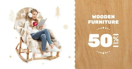 Ontwerpsjabloon van Facebook AD van Furniture offer Girl in Armchair Reading