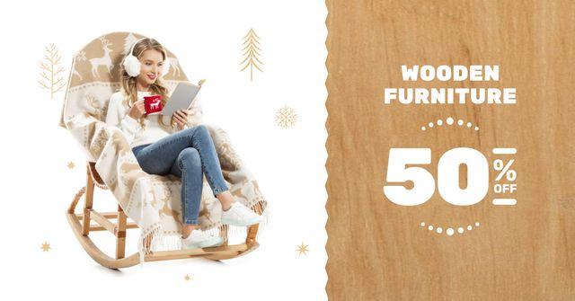 Plantilla de diseño de Furniture offer Girl in Armchair Reading Facebook AD