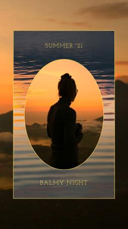 Designvorlage Summer Inspiration with Woman's Silhouette in Mountains für Instagram Video Story