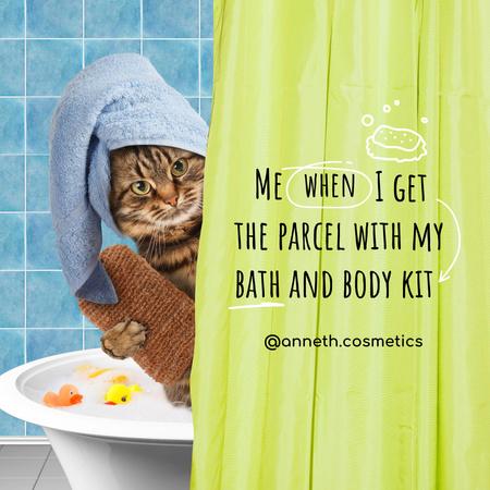 Plantilla de diseño de Cosmetics Store Ad with Funny Cat in Bath Towel Instagram