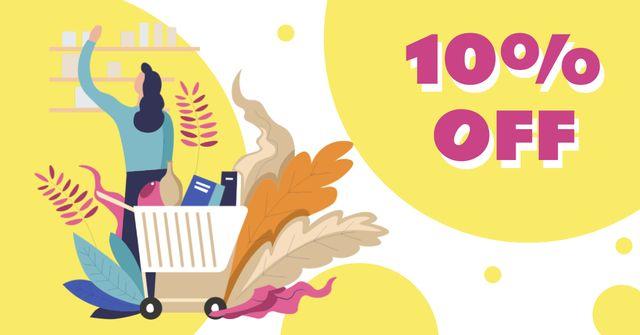 Modèle de visuel Store Deal with Woman shopping - Facebook AD