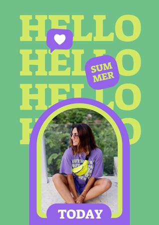 Summer Inspiration with Cute Girl on Beach Poster – шаблон для дизайну