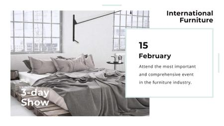 Furniture Show with Bedroom in Grey Color FB event cover – шаблон для дизайна