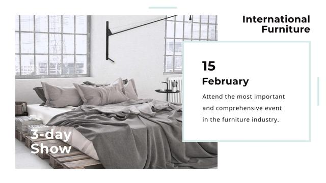 Template di design Furniture Show with Bedroom in Grey Color FB event cover