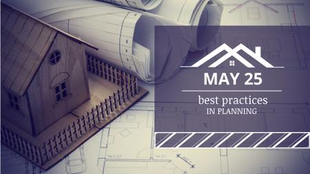 Construction Blueprints with Toy House FB event cover Design Template
