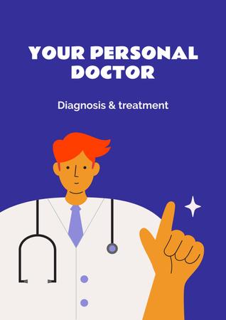 Doctor in uniform with stethoscope Poster – шаблон для дизайну