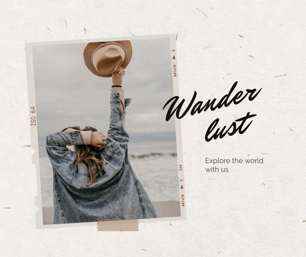 Travel Inspiration with young Girl Facebook Modelo de Design
