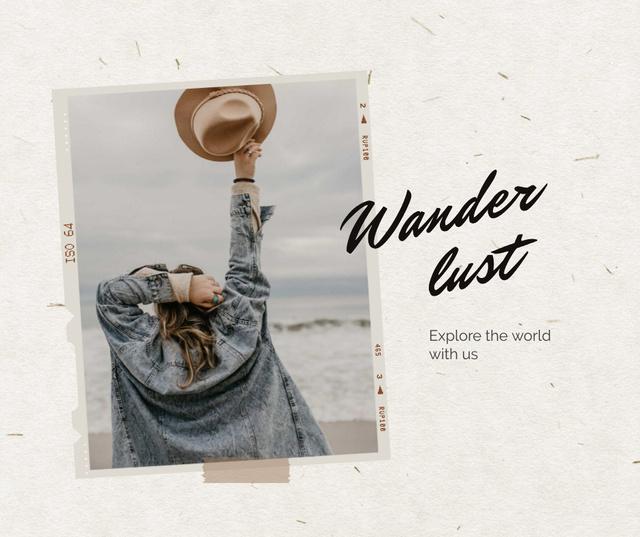 Ontwerpsjabloon van Facebook van Travel Inspiration with young Girl