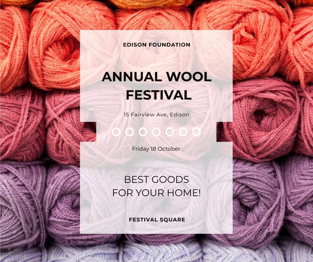 Ontwerpsjabloon van Facebook van Knitting Festival Wool Yarn Skeins