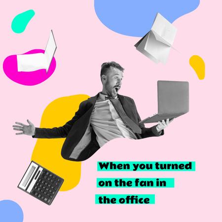 Ontwerpsjabloon van Instagram van Funny Businessman with Laptop and Flying Books and Calculator