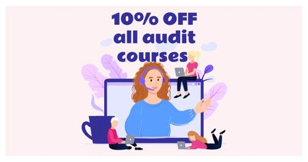 Audit Courses Offer with Woman on Laptop Screen Facebook AD – шаблон для дизайну