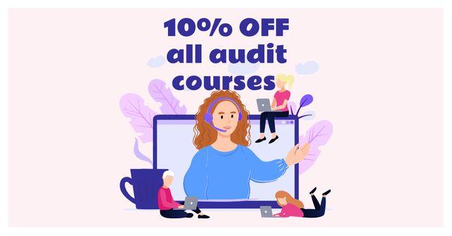 Modèle de visuel Audit Courses Offer with Woman on Laptop Screen - Facebook AD