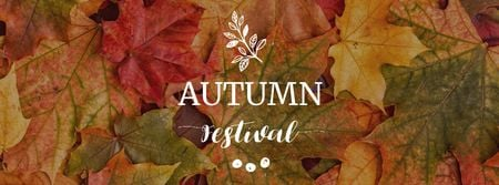 Autumn Festival Announcement with Colorful Foliage Facebook cover Modelo de Design
