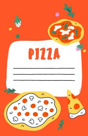 Modèle de visuel Delicious Pizza with Cooking Ingredients - Recipe Card