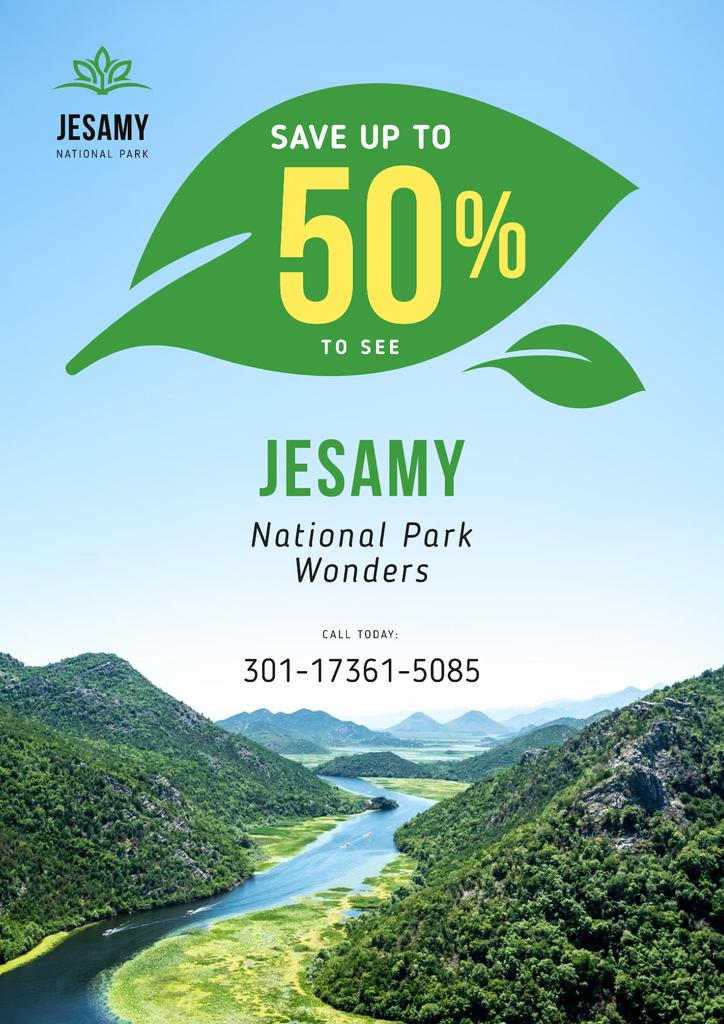 National Park Tour Offer with Forest and Mountains — ein Design erstellen