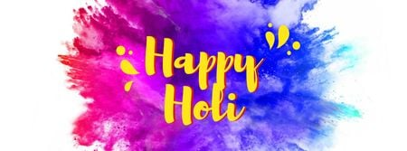 Holi Festival Greeting with Splash of Paint Facebook cover Design Template