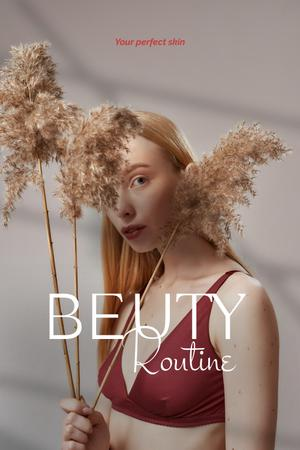Plantilla de diseño de Beauty Ad with Tender Girl holding Flowers Pinterest