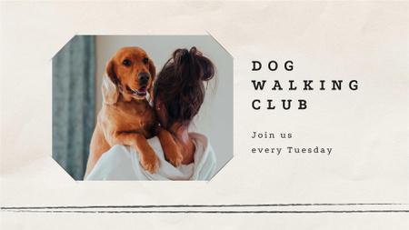 Plantilla de diseño de Girl holding Her Cute Dog FB event cover